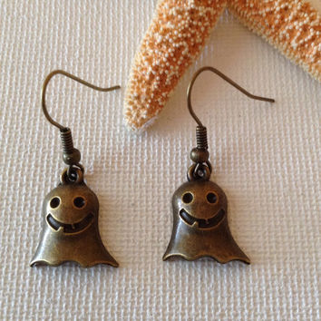 Halloween earrings, goblins, ghosts, bronze earrings, nickel free, seasonal earrings