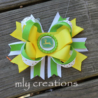 John Deere Inspired Boutique HairBow, Country Girl Hairbow, Pink and Green Hair bow, John Deere Hair bow, John deere birthday,bottle cap bow