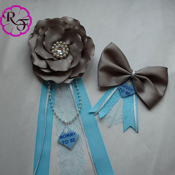 Boy Baby Shower Pin, Baby Boy Shower Corsage, Mommy to Be Corsage, Blue and gray  Baby Shower , Daddy to be corsage  , Daddy to be pin