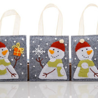 Christmas Ornament Set, Trio of Hand Embroidered Snowmen, Christmas Tree Decoration, Three Ornaments, Snowflake, Present, Candy Cane