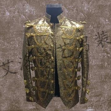 Gold Sequined Medieval Jacket Vintage Cosplay Customizable