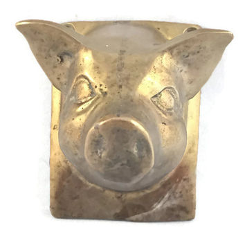 Vintage Brass Pig Head Towel Holder Wall Plaque, Made in Poland