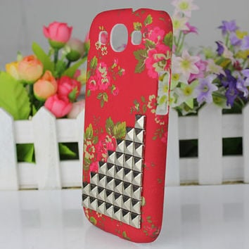 Beautiful Flower Hard Shell And Silver Stud  for Samsung Galaxy S3 i9300