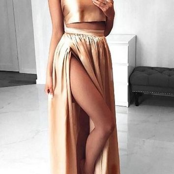Golden 2-in-1 Bandeau Pleated Slit Open Back Maxi Dress