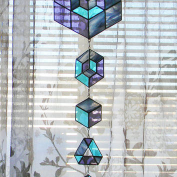Geometric Stained Glass Suncatcher Set in Turquoise and Purple