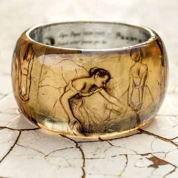 Impressionist Resin bracelet Edgar Degas ballerinas, ballet sketches, gentle drawings great French Artist reproduction, art jewelry original