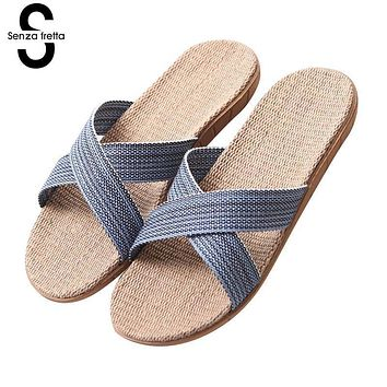 Senza Fretta Men Shoes Indoor Linen Men Slippers Summer Home Soft Flat Slippers Hemp Breathable Soft Couple Slippers Shoes Men
