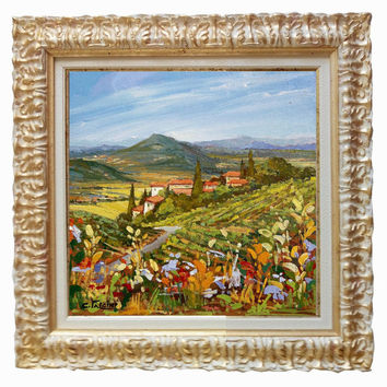 Italian painting Tuscan valley with flowers landscape original oil of Cristina Falcini with frame Italy - Dipinto paesaggio Toscana