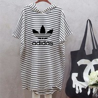 """Adidas"" Women Multicolor Stripe Hooded Short Sleeve Mini Dress"
