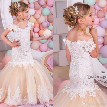 Mermaid Lace Arabic Flower Girl Dresses for Weddings Champagne Tulle Baby Girl Communion Dresses Children Girl Pageant Gown FL88