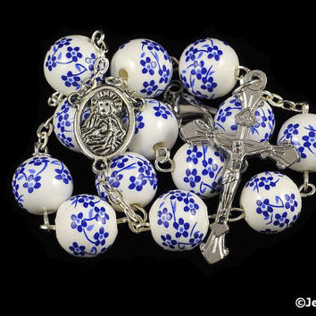 Auto Rosary Pocket Blue & White Porcelain Bead 1 Decade Silver Chaplet
