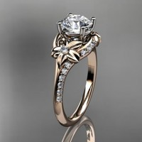 14kt  rose gold diamond floral wedding ring,engagement ring ADLR125......