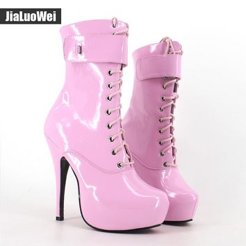 jialuowei Fashion Women 15cm High Heels Ankle Boots Lace-Up Platform Boot for Women Sexy Fetish Shoes Motorcycle Lockable Boots
