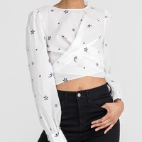 Star Embroidered Tie Top - Off White/Navy