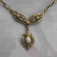 Filigree Victorian Style Lavalier Choker Necklace Pearls Vintage Jewelry