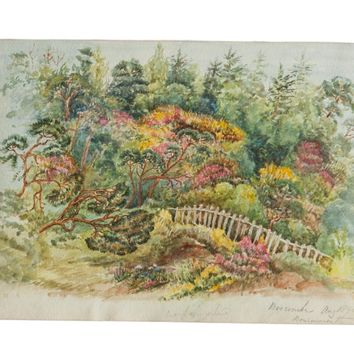 Boscombe Botanical Garden Antique Watercolor Painting