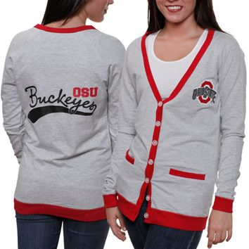 Ohio State Buckeyes Ladies Study Hall Long Sleeve Cardigan - Ash