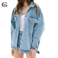 Lace Girl Women Jeans Jackets Fashion 2016 Spring Autumn Long Sleeve Denim Coat Ripped Chaquetas Mujer Casual Denim Jackets