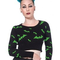 "Women's ""All Over Bats"" Cropped Sweater by Voodoo Vixen (Black/Green)"