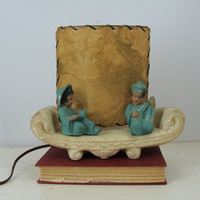Vintage Chalkware Asian Lamp, Vintage Lamp, Mid Century Lamp, MCM Lighting