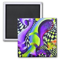 Retro Abstract Electric Blue and Harlequin Green - Magnet
