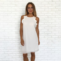 Taken Back Ruffle Dress In Ivory