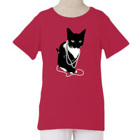 The Janie tee with our pretty in pearls cat graphic print | The Janie Tee with Fancy Cat Graphic Print | Fashion For Girls - FashionPlaytes