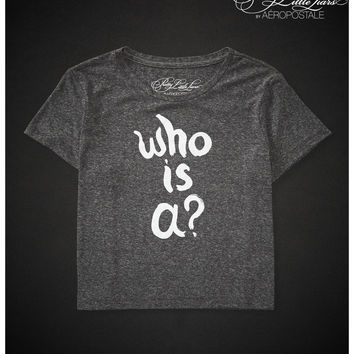 Aeropostale Pretty Little Liars Who Is A? Boxy Crop Graphic T - Black,