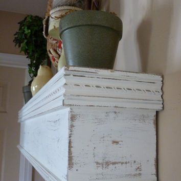 "Cottage Chic White Mantle, 48"" L Distressed White Shelf, Mantel, Farmhouse shelf, mantle, Floating Shelf, Mothers Day Gift"