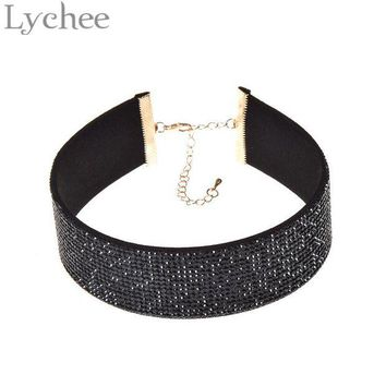 DCCKU62 Lychee 1 piece Gothic Punk Multicolor Wide Leather Choker Necklace 90s Rhinestone Crystal Choker Collar Jewelry for Women