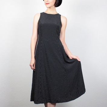 Vintage 90s Dress Black White Polka Dot Dress Midi Dress Soft Grunge Dress 1990s Dress Sundress Lace Up Back My Michelle Dress S Small M