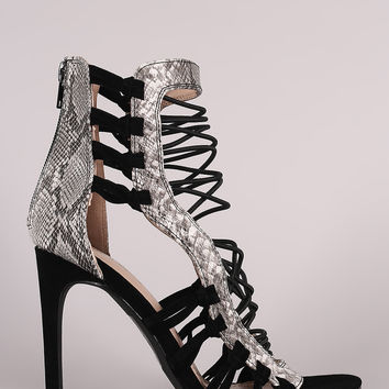 Shoe Republic LA Python Strappy Stiletto Heel