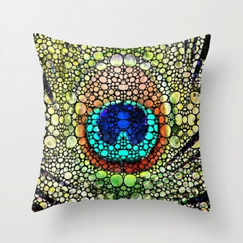 Throw Pillow Cover Peacock Art Design Jewel Tones Bed Chair Couch Bird Mosaic Decor Artsy Decorating Made Easy Living Room Bedroom Bedding