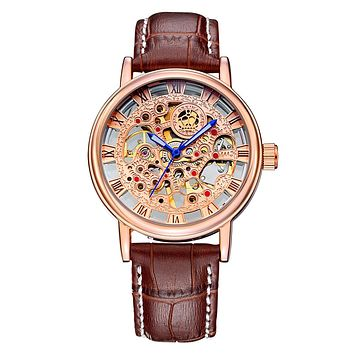 New Rose Gold Men's Skeleton Wristwatch Leather Antique Steampunk Casual Skeleton Mechanical Watches Male