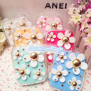 New Flower Contact Lens Travel Case Kit with Bling Crystal as Gift