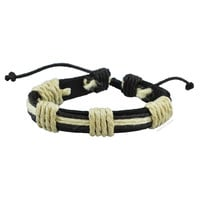 Leather and Hemp Tie On Bracelet on Sale for $4.99 at HippieShop.com