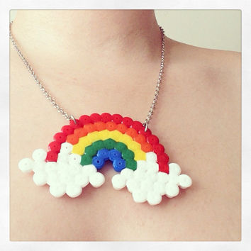Rainbow Hama Perler Bead Statement Necklace