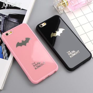 JAMULAR Dark Kinght Batman Phone Cover For iphone X 6 6s 7 Plus Mirror Silicone Case