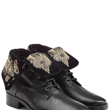 Etro - Leather Ankle Boots with Embroidery