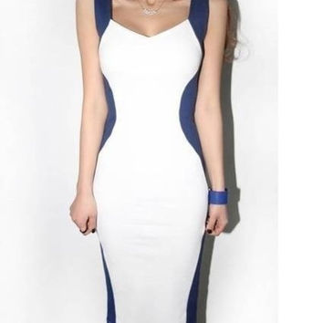 sexy V neck mini clubwear body con sleeveless  bandage party prom dress S-XXL = 1697392964