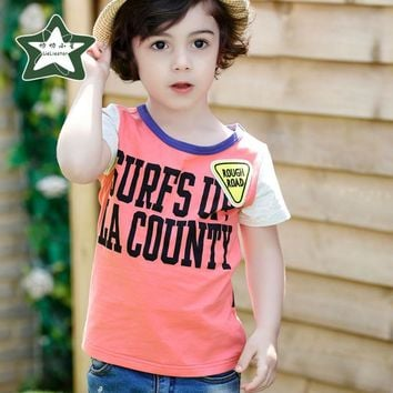 Fashion Letters Printed T-shirt For Baby Boy Children Summer Cute Short Sleeve T Shirts 2017 Funny Clothes Kids Casual Top Tees