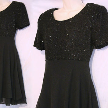 "1980s Black Dress by Laurence Kazar Sequin / Beaded Cocktail Semi-Formal Vintage Dancing Party Waist 28"" Bust 36"""