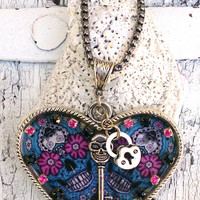 Heart Sugar Skull Necklace, Skeleton Key, Day Of The Dead Pendant