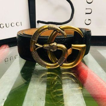 DCCK3 Authentic Gucci Signature Leather Belt With Gold Snake Double G Buckle