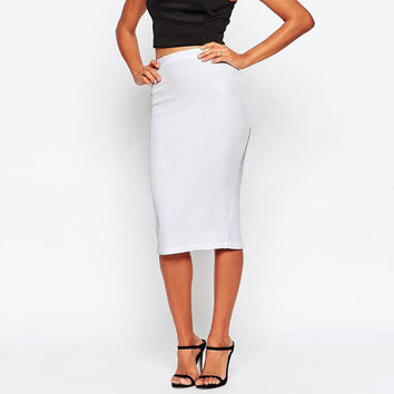 Sexy Womens High Waist Knitted Skirts 2016 Spring Autumn Bodycon Knee Length Slim Hip Black White OL Pencil Skirts Saia