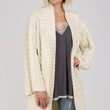 Chunky Cable Knit Cardigan - Beige by POL Clothing
