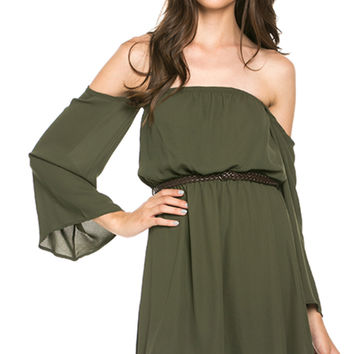 Chiffon Olive Off-Shoulder Dress