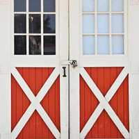Barn Red and White Doors Backdrop - 6702
