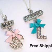Best Friends Necklaces - Personalized Jewelry - Initial Necklace - Set of Necklaces - Bow Charms - Forever Friends Jewellery - Friendship