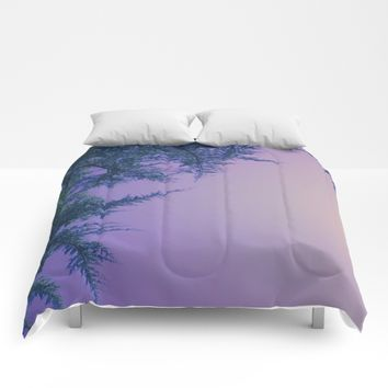 Lavender Skies, Green Trees Comforters by DuckyB